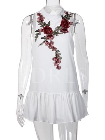Summer Floral Embroidery Backless Women's Party Dress
