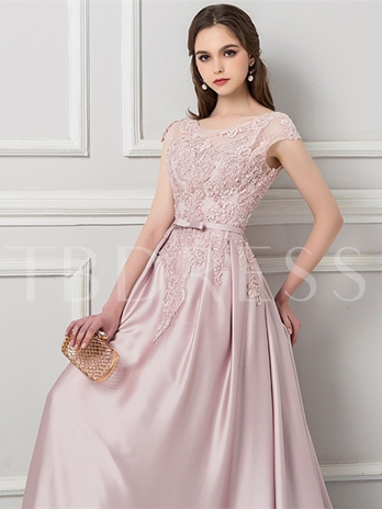 A-Line Appliques Beading Sashes Evening Dress