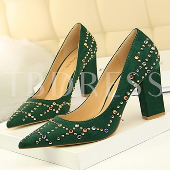 Suede Rivets Rhinestone Shoes Chunky Heels for Women