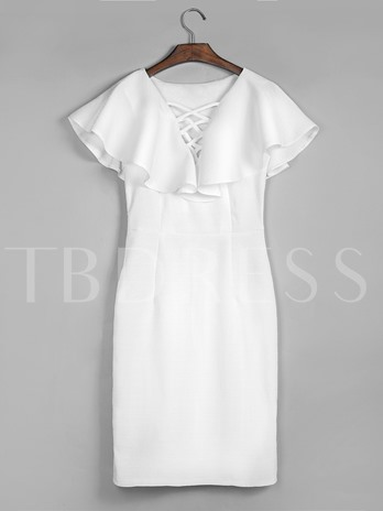 White Lace-Up Ruffle Sleeve Women's Day Dress