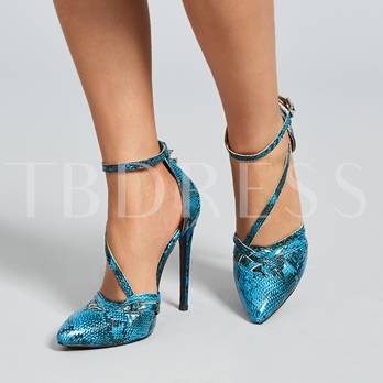 Snakeskin Buckle Closed Toe Women's Pumps (Plus Size Available)