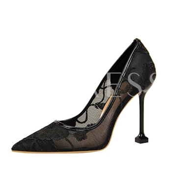 Mesh Embroidery Floral Shoes Women's High Heels