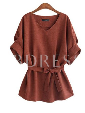 Tight Waist Solid Color Short Sleeve Women's Blouse