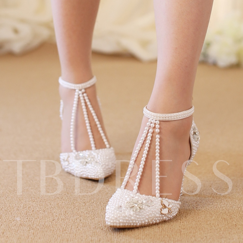 Buy Appliques Floral Shoes Beads Wedding Shoes, Spring,Summer,Fall, 13243167 for $76.99 in TBDress store