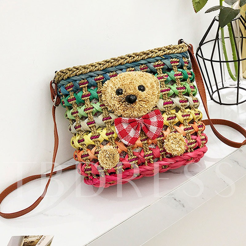 Cute Colorful Grass Knitted Shoulder Bag