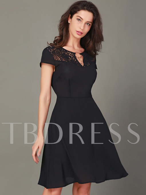 Cap Sleeve Lace Patchwork Women's Day Dress
