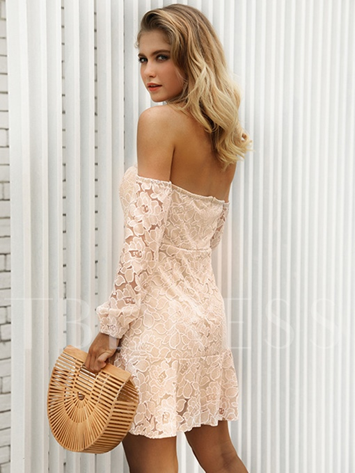 Off Shoulder A-Line Ruffle Lace Dress