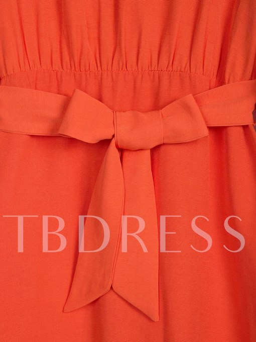 Orange Flare Sleeve Back Zip Women's Day Dress