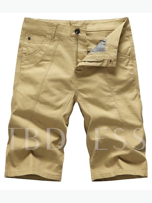 Solid Color Plain Slim Fit Men's Short Pants