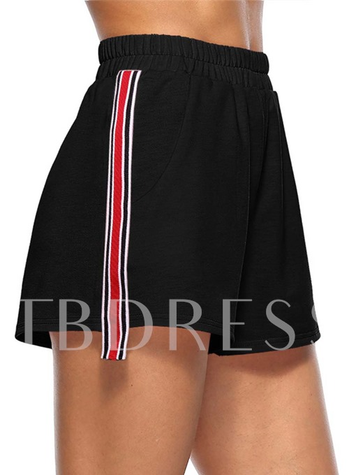 Side Striped Color Block Lace-Up Women's Sporty Shorts