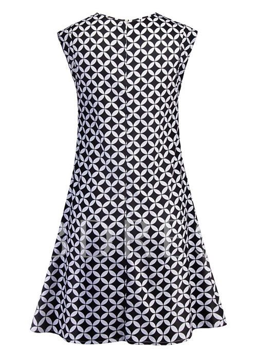 Geometric Pattern Sleeveless Women's Day Dress