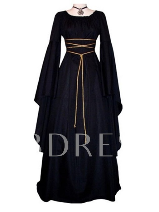 Black Square Neck Bell Sleeve Women's Maxi Dress