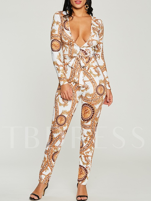 Printed V-Neck Long Sleeve Women's Jumpsuit