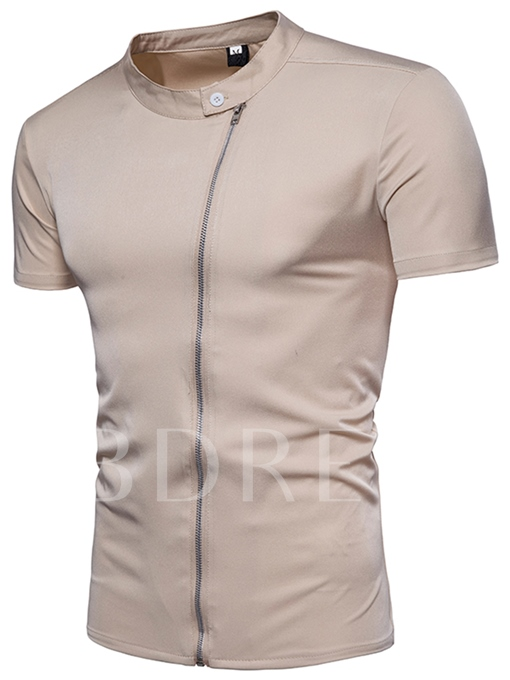 Zipper Solid Color Slim Men's T-Shirt