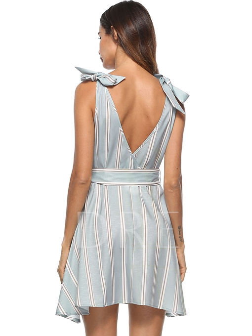 Backless Striped Women's Day Dress