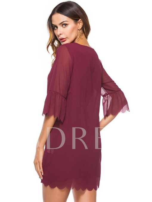 Loose Bell Sleeve Women's Day Dress