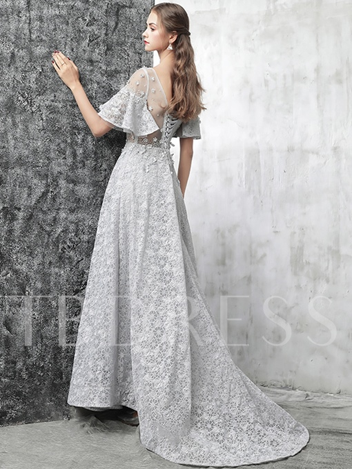 A-Line Beading Flowers Lace Evening Dress