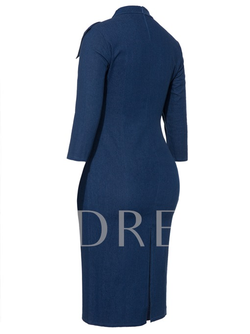High-Neck Bowknot Half Sleeve Women's Bodycon Dress