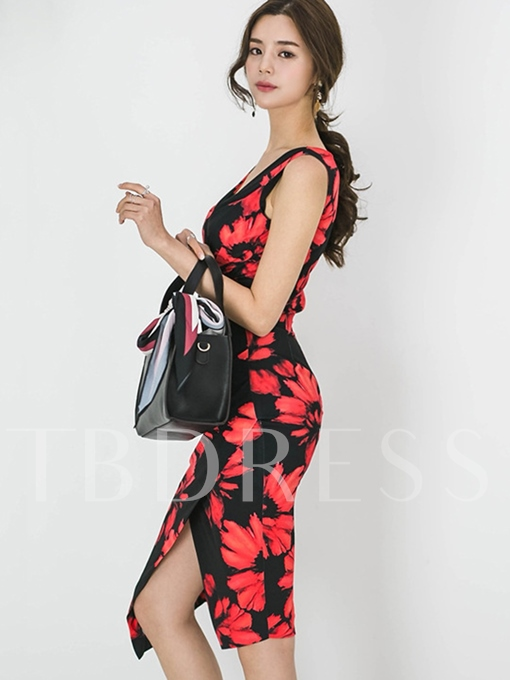 V Neck Asym Printing Women's Bodycon Dress