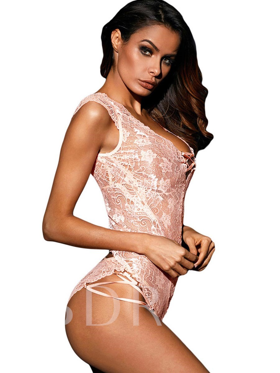 Sexy Lingerie Bodysuit Lace-Up Backless Lace Teddy