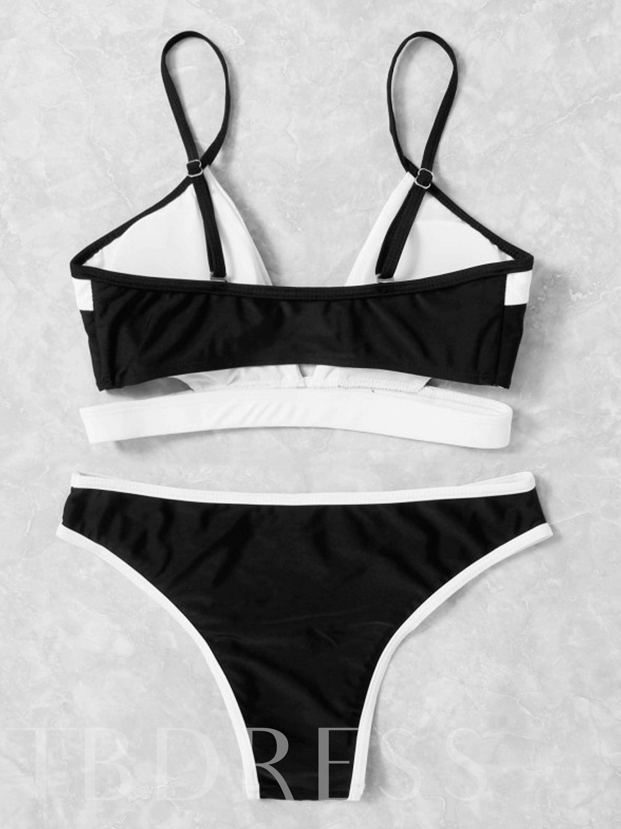Black And White Adjustable Strap Hollow Bikini Set