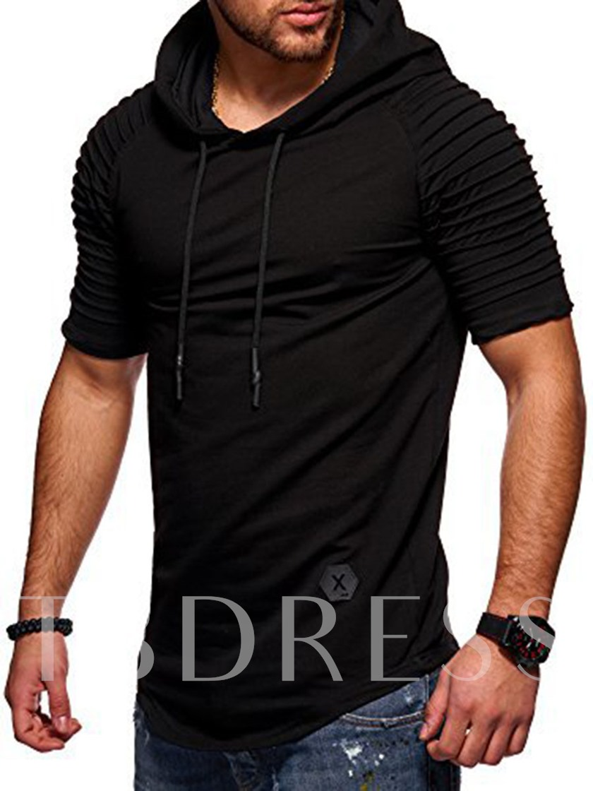 Multicolor Hooded Pleated Short Sleeves Plain Loose Comfortable Men's T-shirt