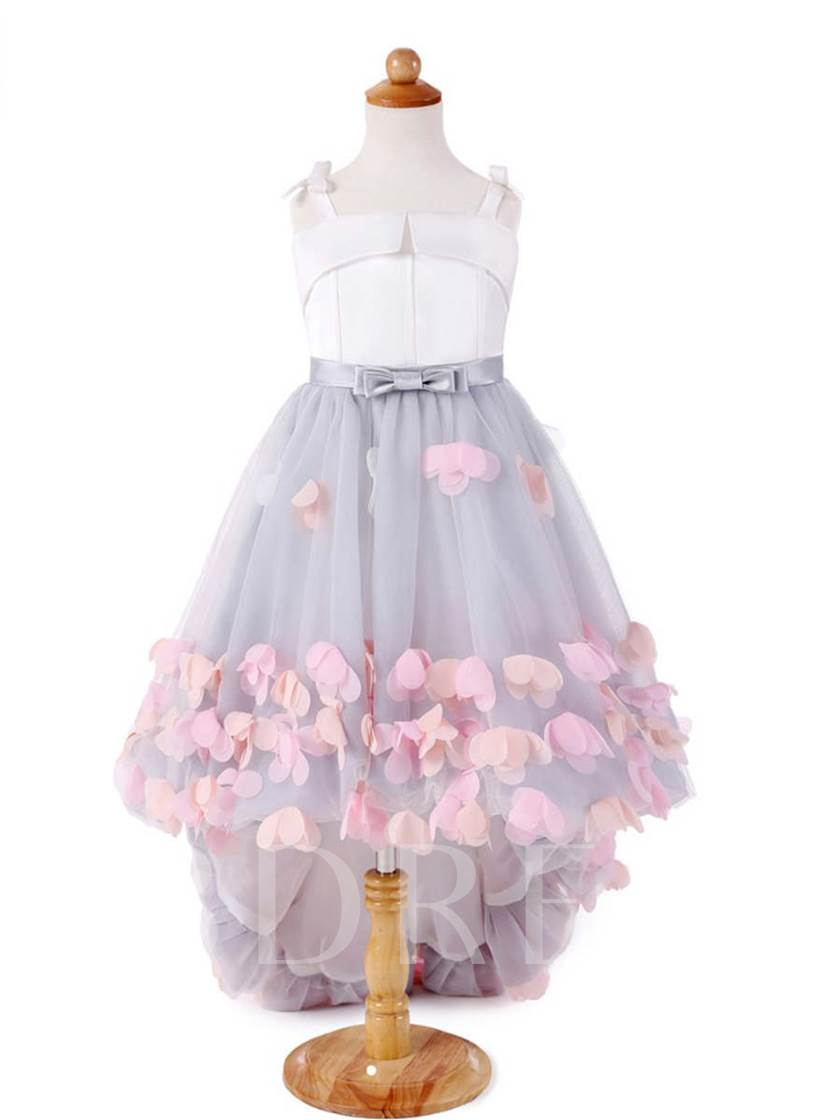 Straps Bowknot Flowers Girls Party Dress