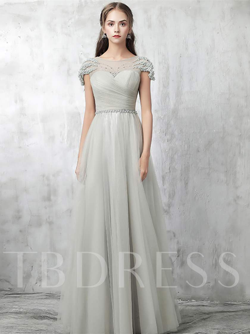 A-Line Beading Pleats Scoop Pearls Evening Dress