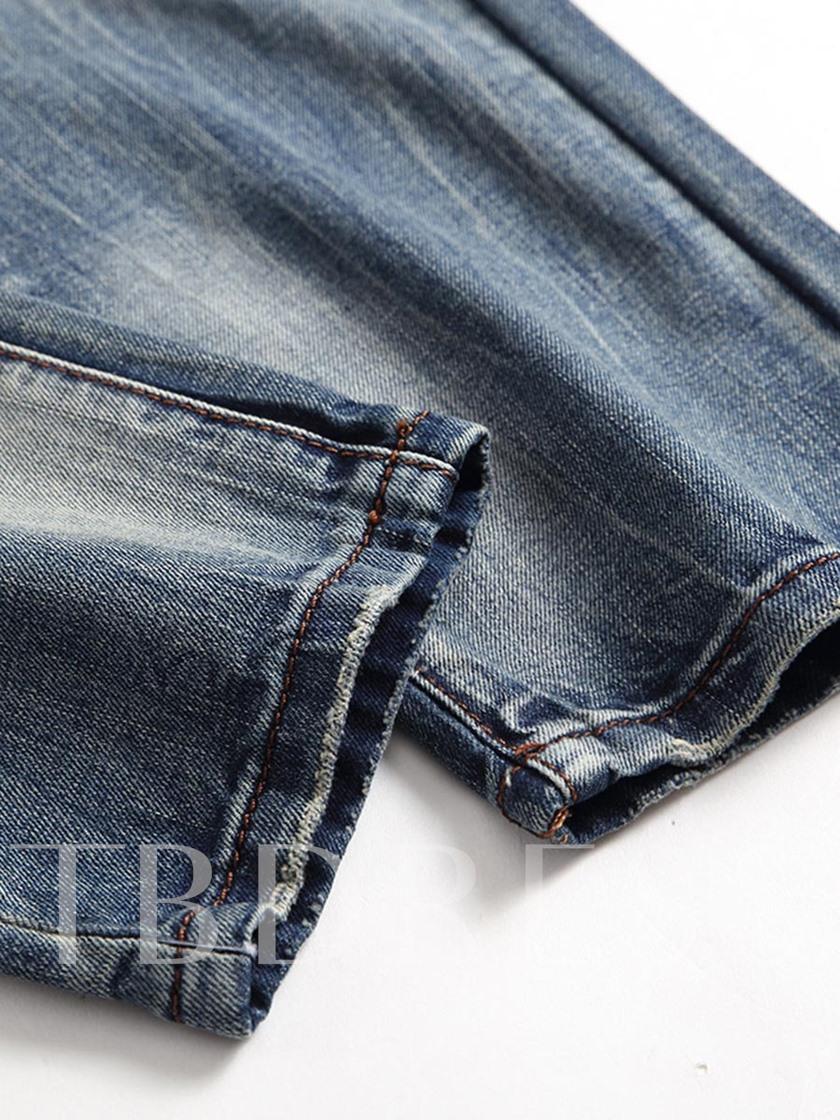 Vintage Hole Slim Men's Jeans