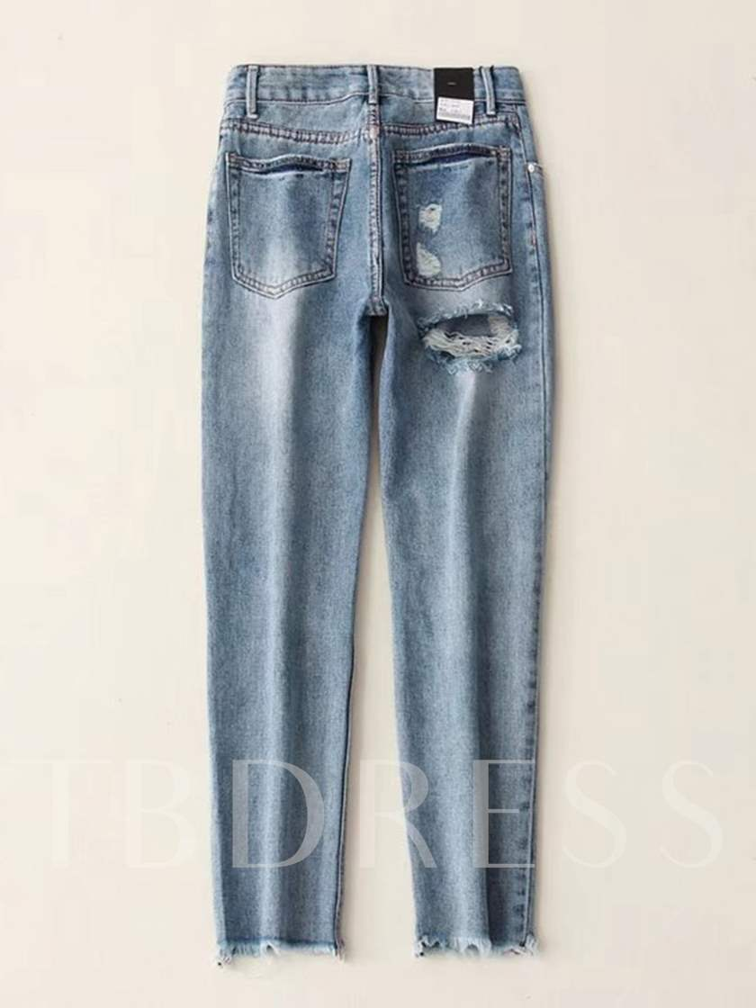 Denim Hole Button Mid Waist Women's Jeans