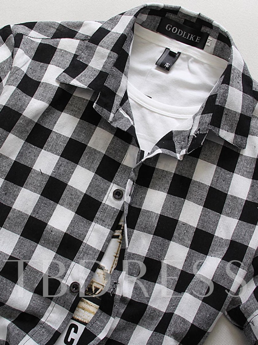 Lapel Plaid Slim Fit Men's Shirt