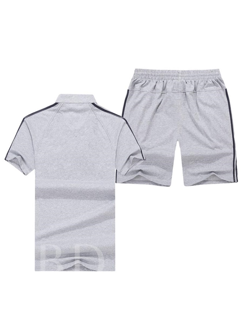 Stand Collar Slim Fit Men's Sports Suit