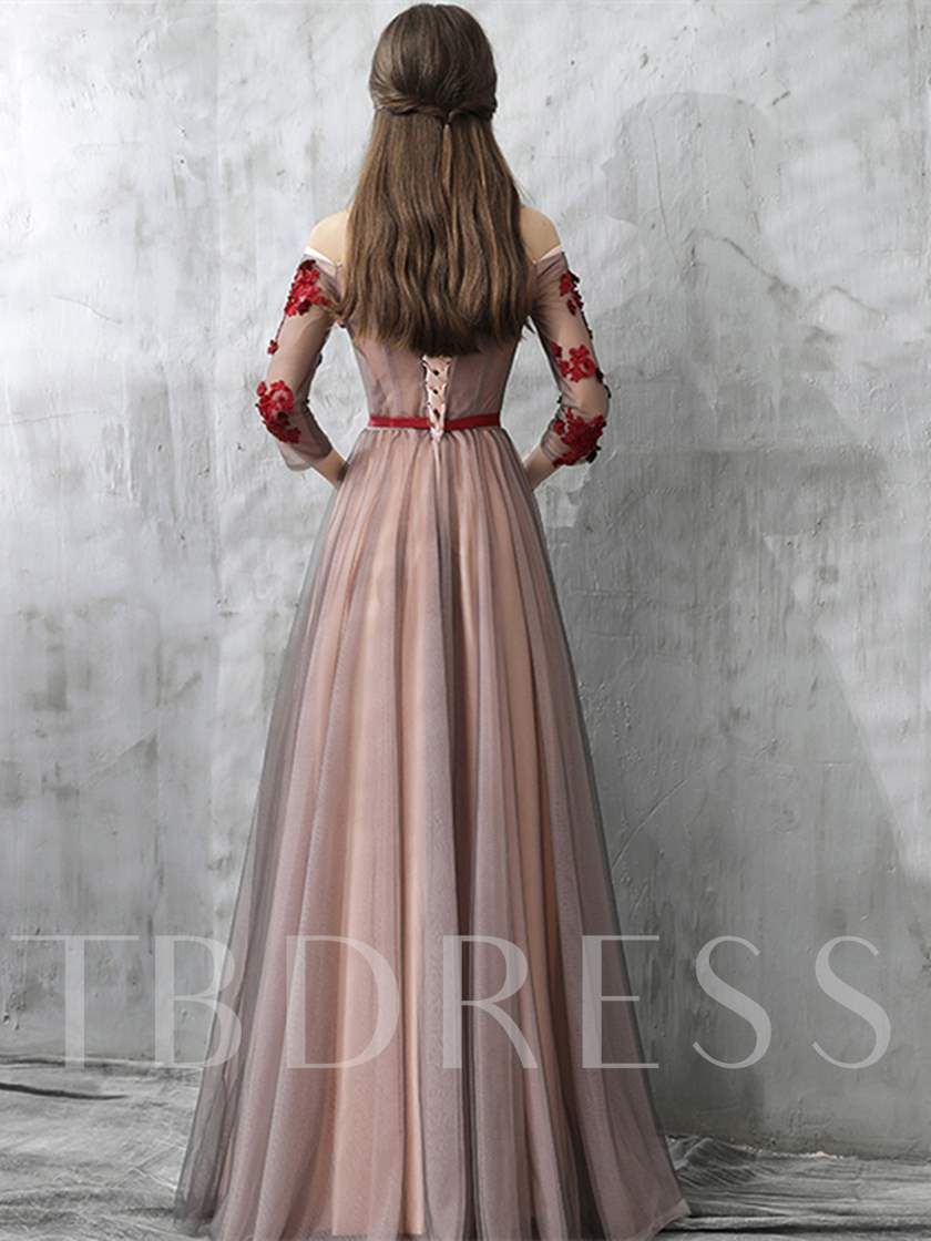 A-Line Appliques Off-the-Shoulder Sashes Evening Dress