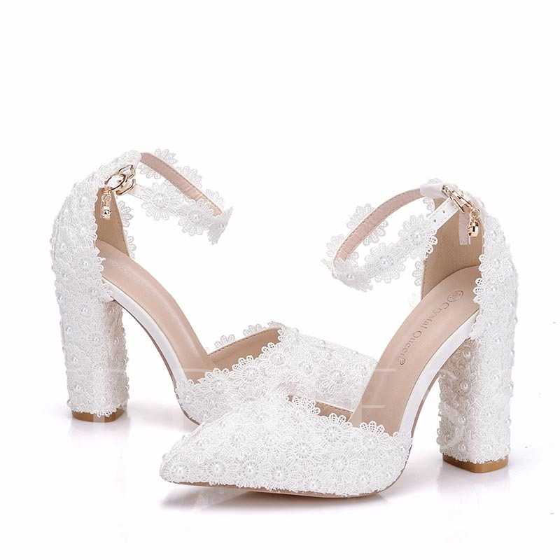 Lace Floral Beads Women's White Wedding Shoes