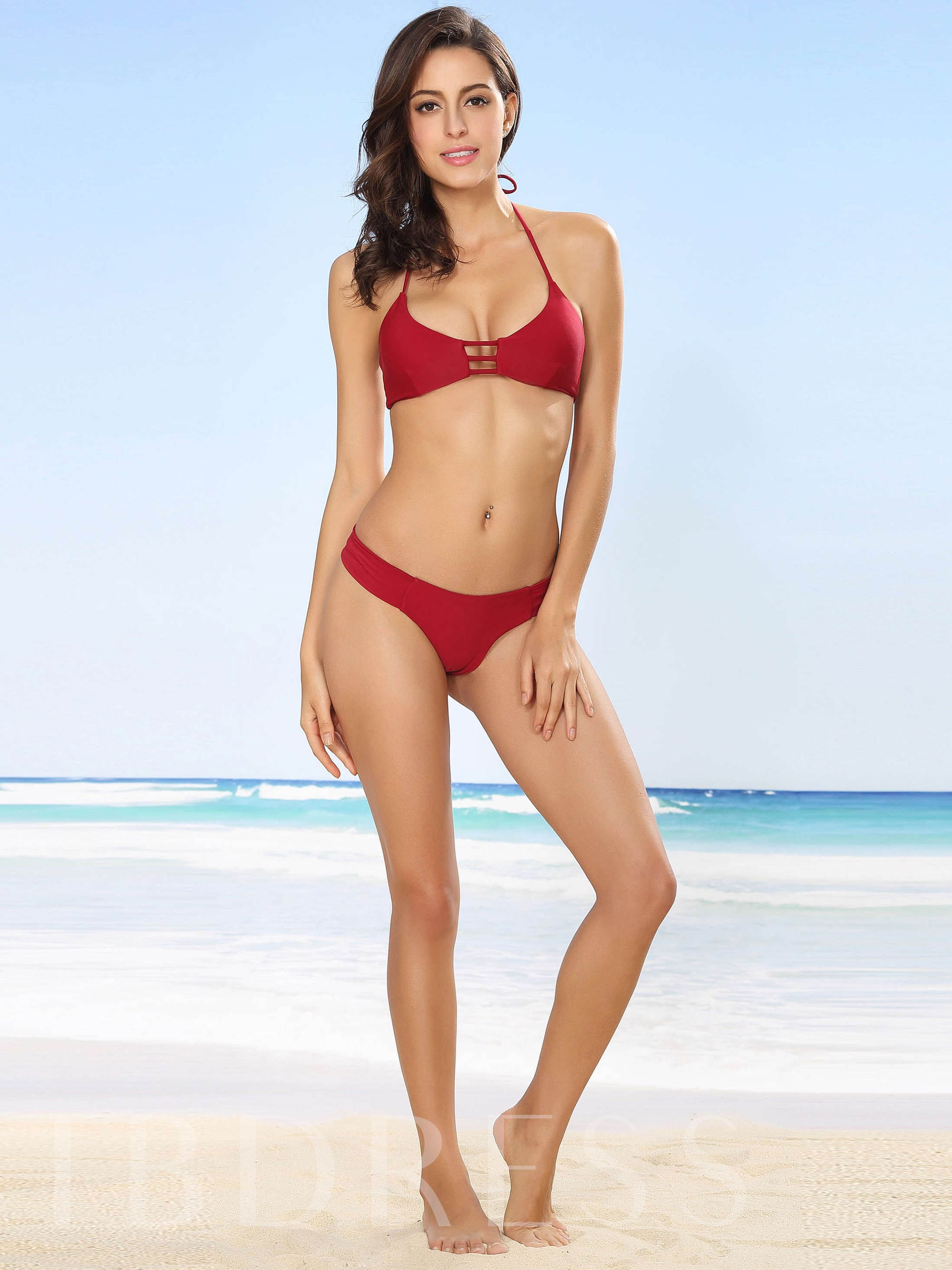 Solid Color Hollow Lace-Up Bikini Set