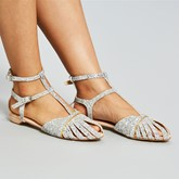 Sequin Pointed Toe Flat Sandals