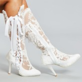 Pointed Toe Side Zipper Customized Women's Wedding Boots
