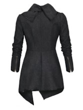 Asymmetrical Hemline Wrapped Lapel Women's Trench Coat