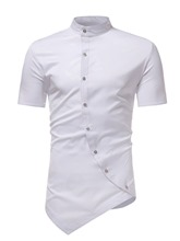 Irregular Stand Collar Slim Men's Shirt