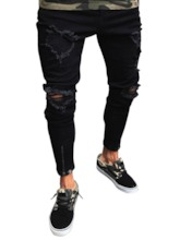 Hole Black Elastic Slim Men's Jeans
