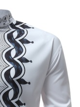 African Fashion Stand Collar Dashiki Style Slim Men's Shirt