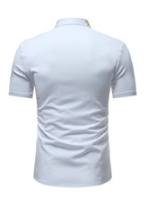 Embroidery Stand Collar Men's Short Sleeve Shirt
