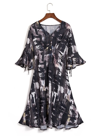 Black Print Button V-Neck Day Dress