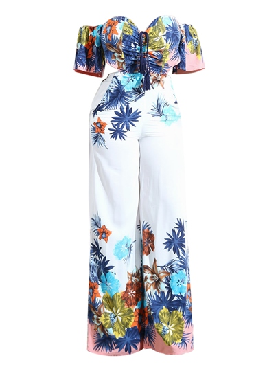 Floral Print Slash Neck Women's Jumpsuit