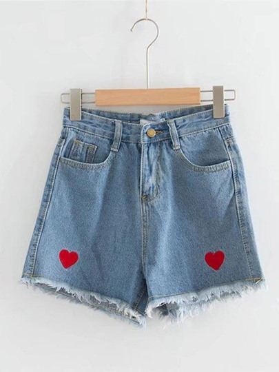 Heart Frayed Hem Denim Women's Shorts