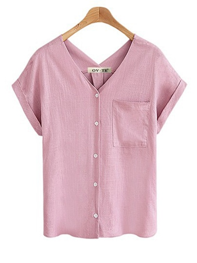 Plus Size Single-Breasted Women's Blouse