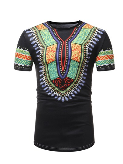 Dashiki Style Thin Cotton Men's T-Shirt