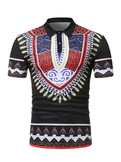 Dashiki Print Lapel Slim Men's Polo