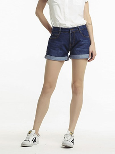 Plain High Waist Stright Denim Women's Shorts