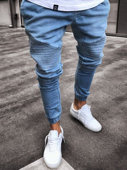 Pleated Plain Skinny Mens Pencil Pants